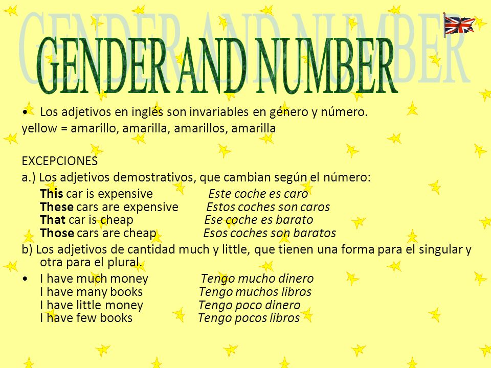 GENDER AND NUMBER Los adjetivos en inglés son invariables en género y número. yellow = amarillo, amarilla, amarillos, amarilla.