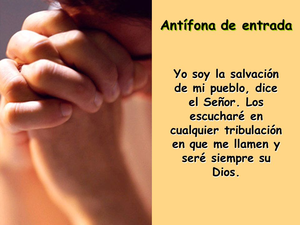 Antífona de entrada Yo soy la salvación de mi pueblo, dice el Señor.