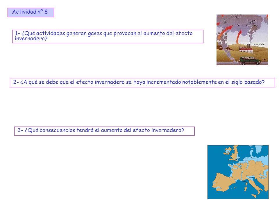 Actividad nº 8 1- ¿Qué actividades generan gases que provocan el aumento del efecto invernadero