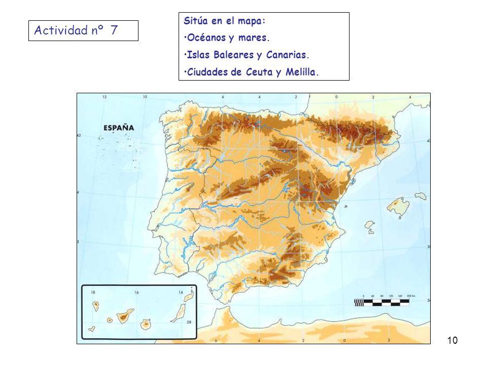 Actividad nº 7 Sitúa en el mapa: Océanos y mares.