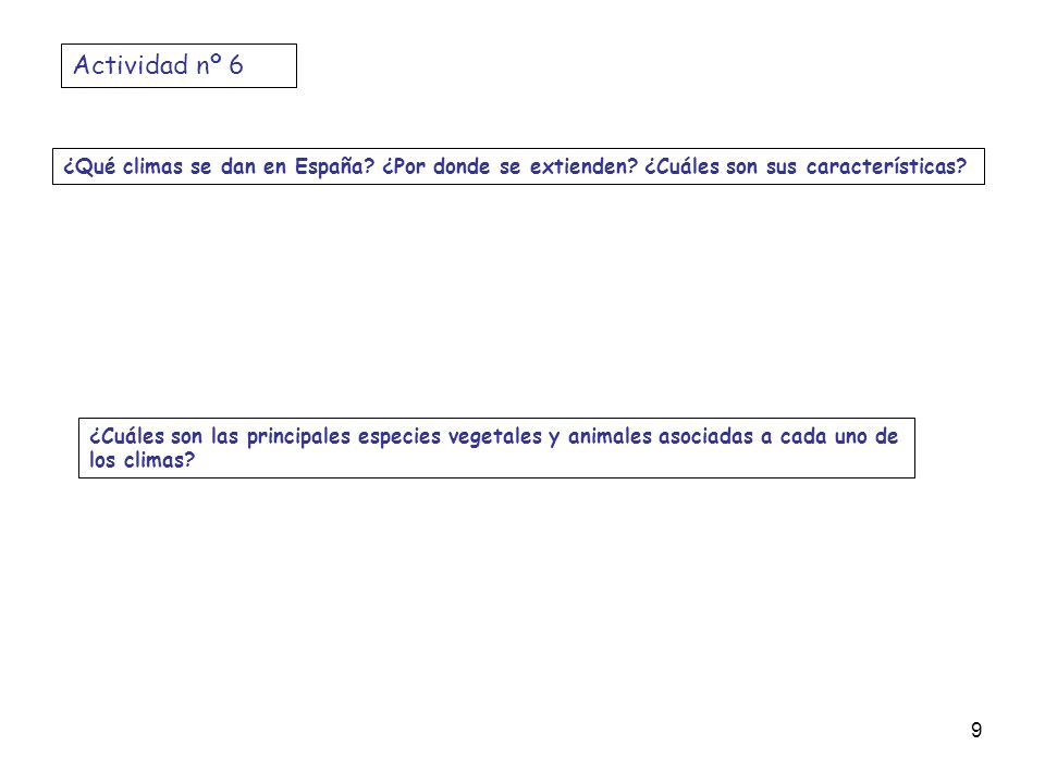 Actividad nº 6 ¿Qué climas se dan en España ¿Por donde se extienden ¿Cuáles son sus características