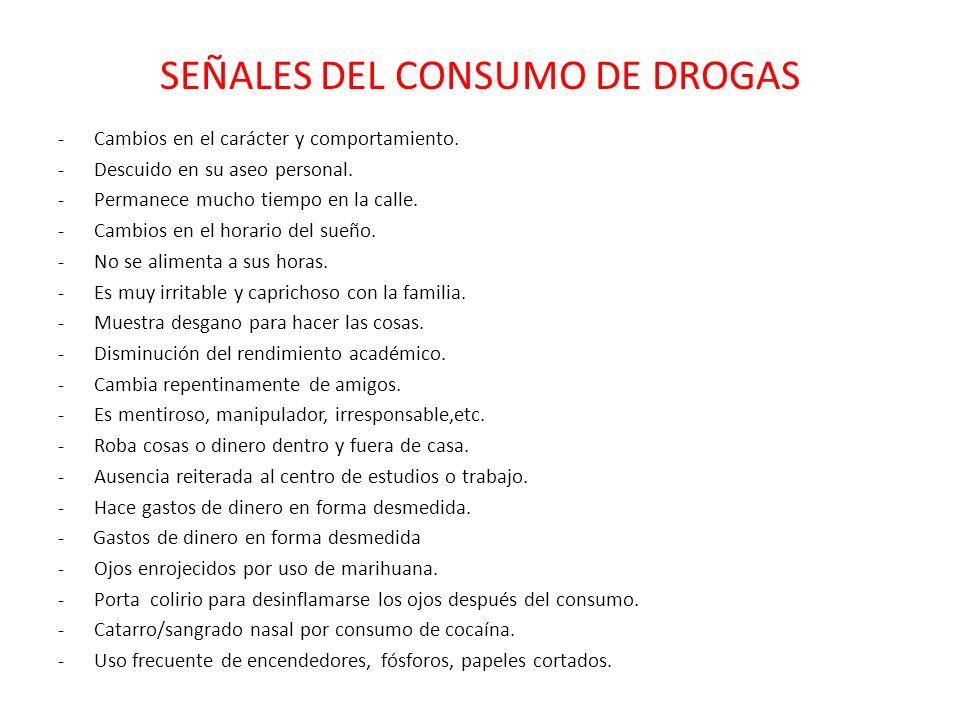 SEÑALES DEL CONSUMO DE DROGAS