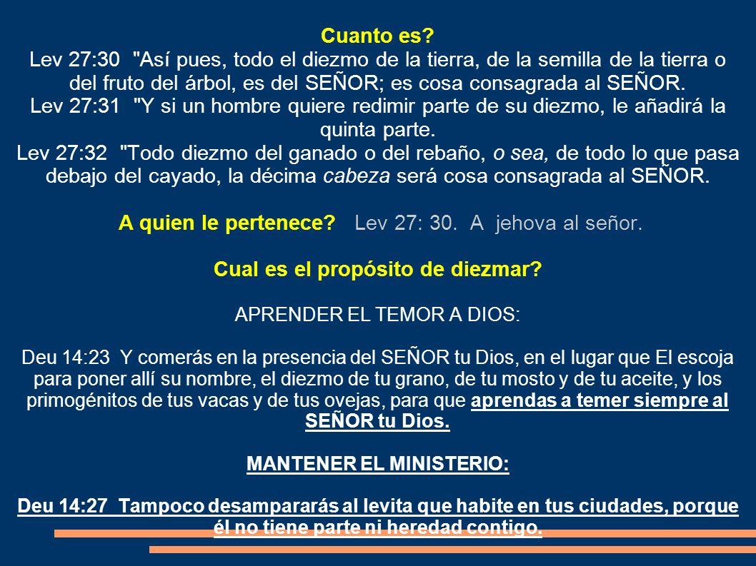 Cual es el propósito de diezmar MANTENER EL MINISTERIO: