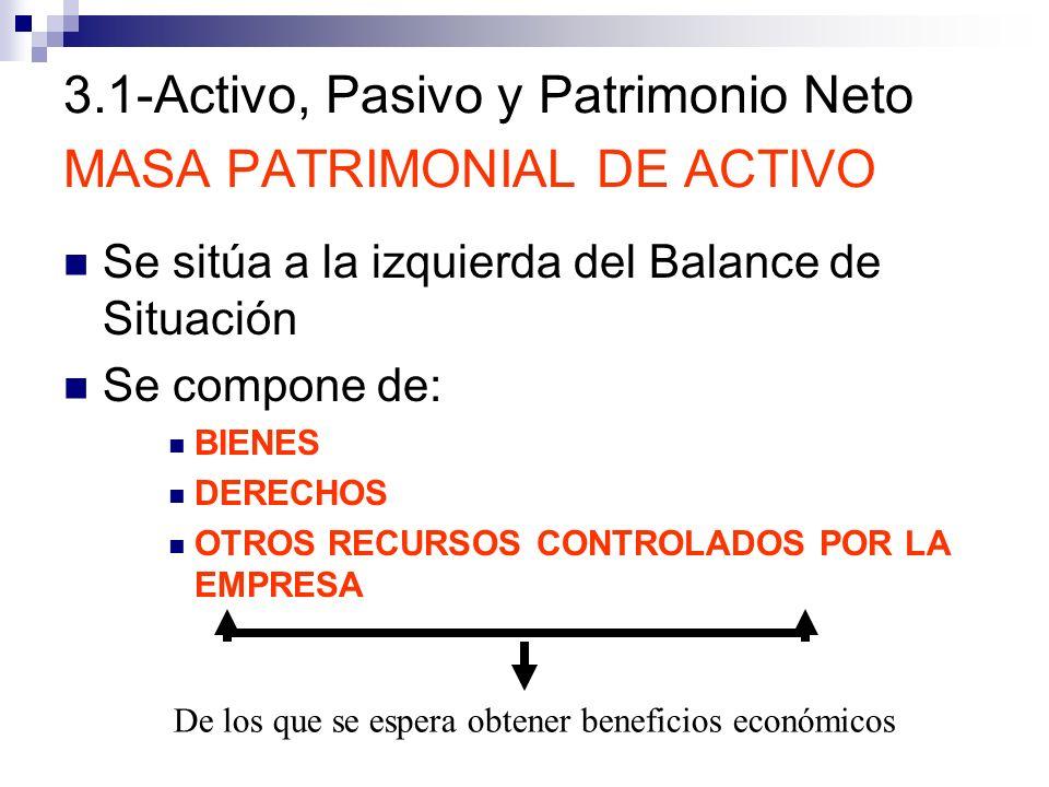 3.1-Activo, Pasivo y Patrimonio Neto MASA PATRIMONIAL DE ACTIVO