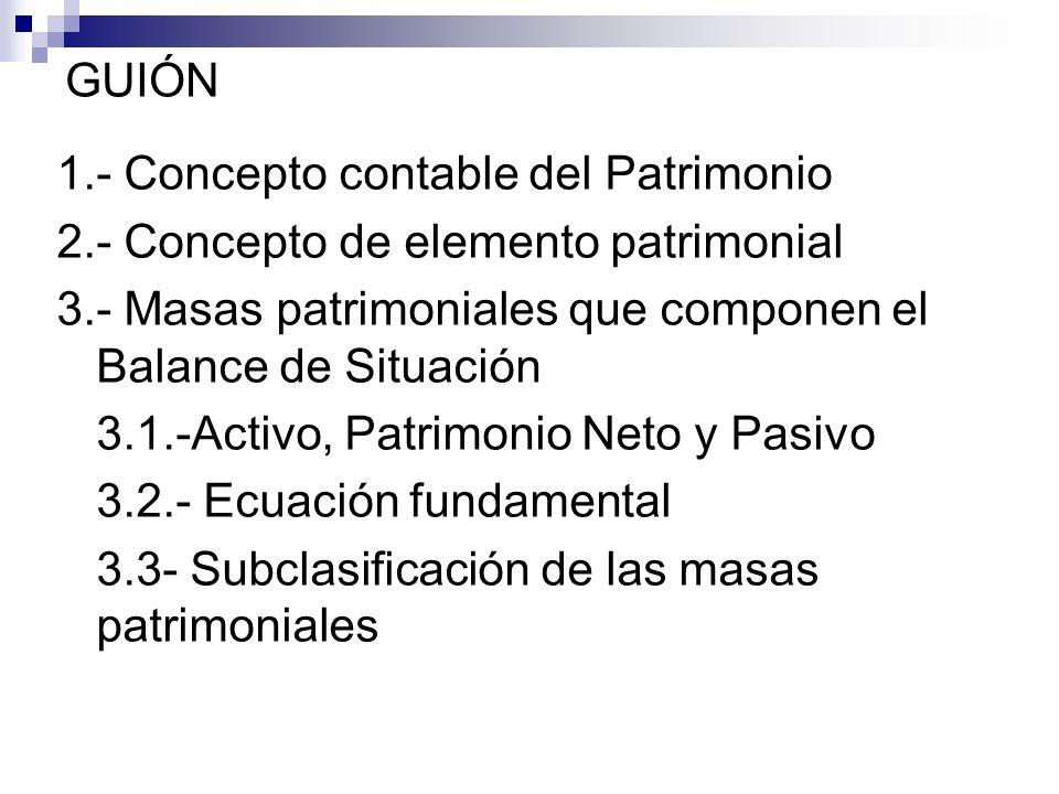 GUIÓN 1.- Concepto contable del Patrimonio. 2.- Concepto de elemento patrimonial. 3.- Masas patrimoniales que componen el Balance de Situación.
