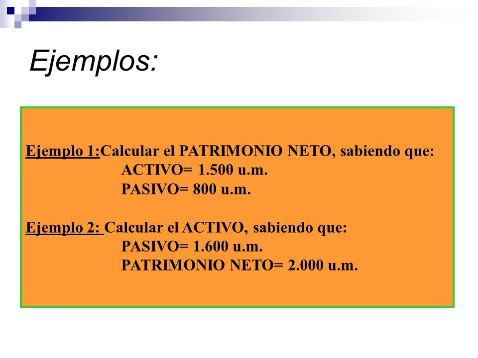 Ejemplos: Ejemplo 1:Calcular el PATRIMONIO NETO, sabiendo que:
