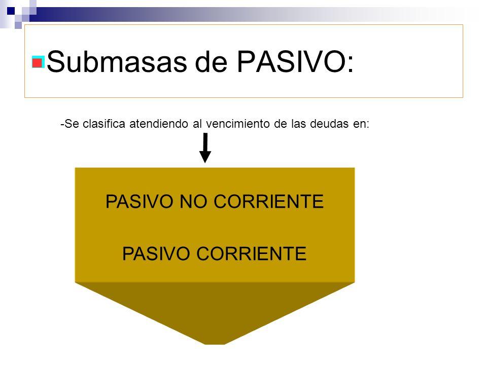 Submasas de PASIVO: PASIVO NO CORRIENTE PASIVO CORRIENTE