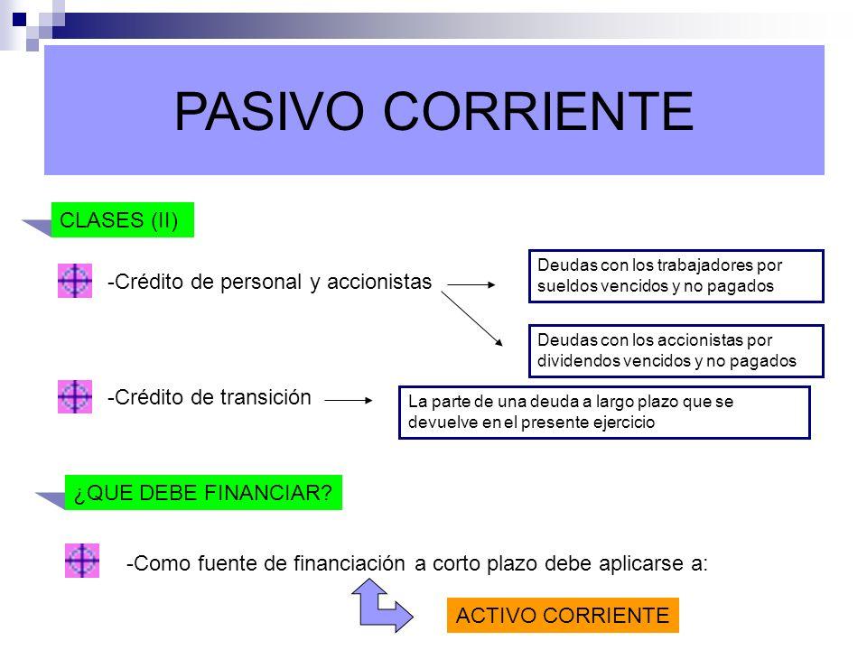 PASIVO CORRIENTE CLASES (II) -Crédito de personal y accionistas