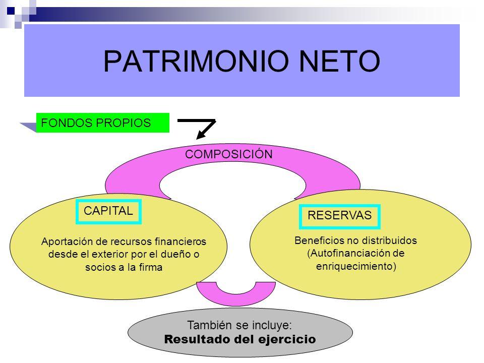 PATRIMONIO NETO FONDOS PROPIOS COMPOSICIÓN CAPITAL RESERVAS