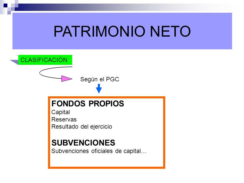 PATRIMONIO NETO FONDOS PROPIOS SUBVENCIONES CLASIFICACIÓN Según el PGC