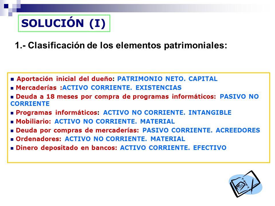SOLUCIÓN (I) 1.- Clasificación de los elementos patrimoniales: