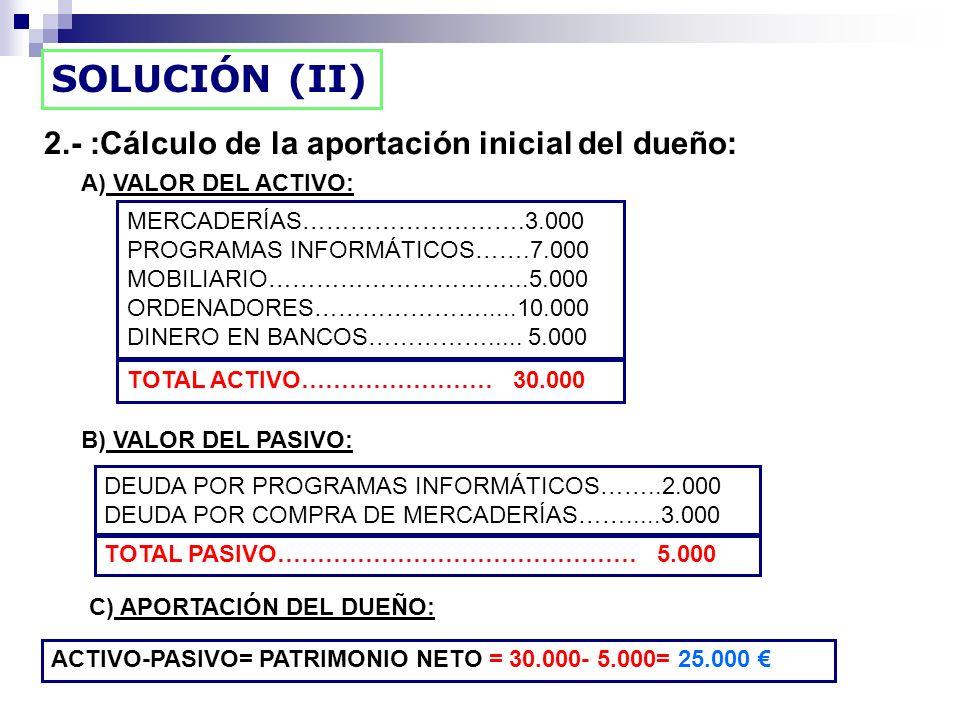 SOLUCIÓN (II) 2.- :Cálculo de la aportación inicial del dueño: