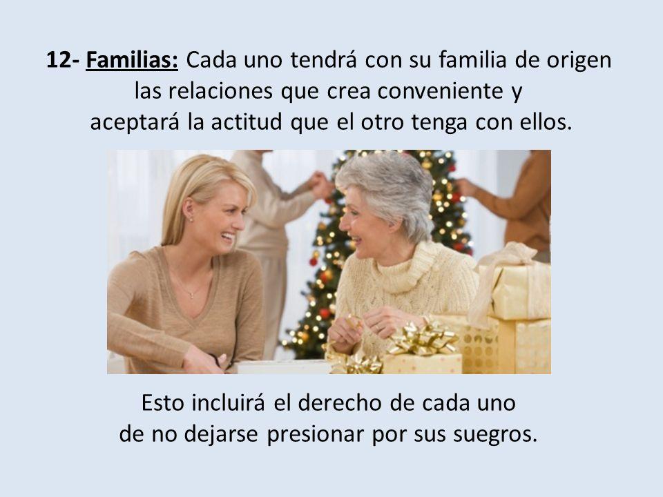 12- Familias: Cada uno tendrá con su familia de origen