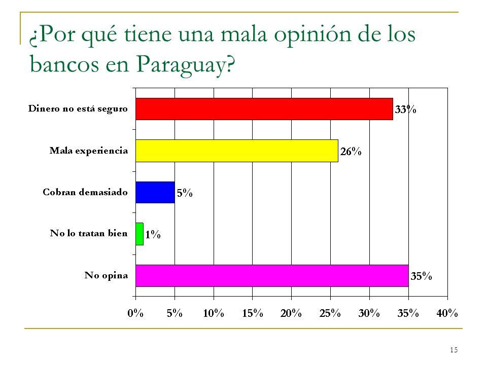¿Por qué tiene una mala opinión de los bancos en Paraguay