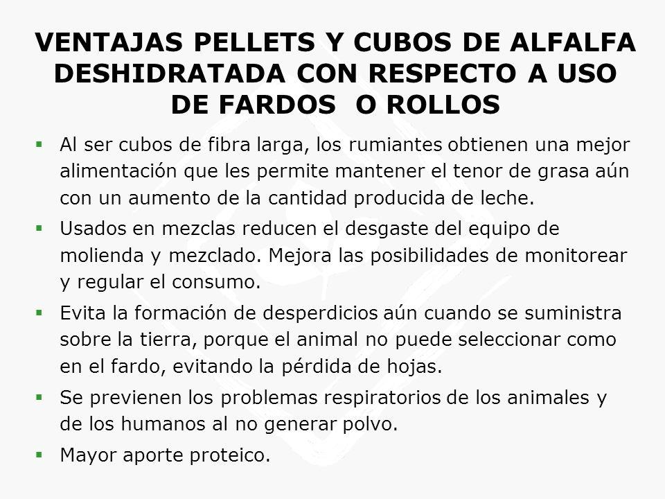 VENTAJAS PELLETS Y CUBOS DE ALFALFA DESHIDRATADA CON RESPECTO A USO DE FARDOS O ROLLOS