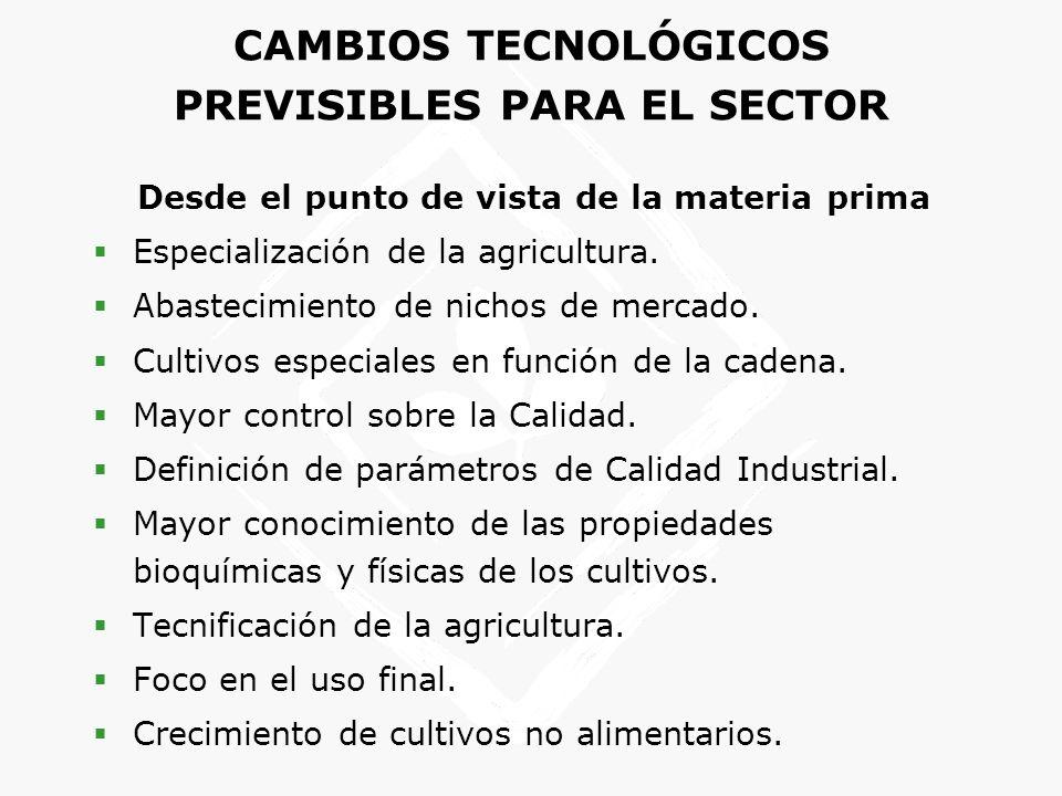 CAMBIOS TECNOLÓGICOS PREVISIBLES PARA EL SECTOR
