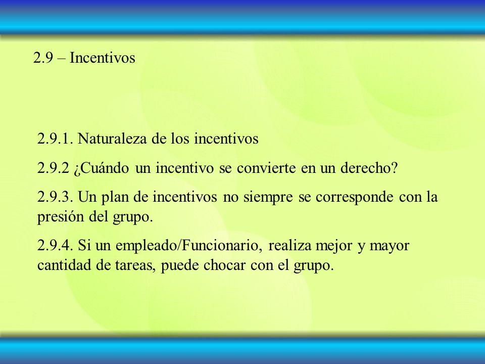 2.9 – Incentivos 2.9.1. Naturaleza de los incentivos. 2.9.2 ¿Cuándo un incentivo se convierte en un derecho