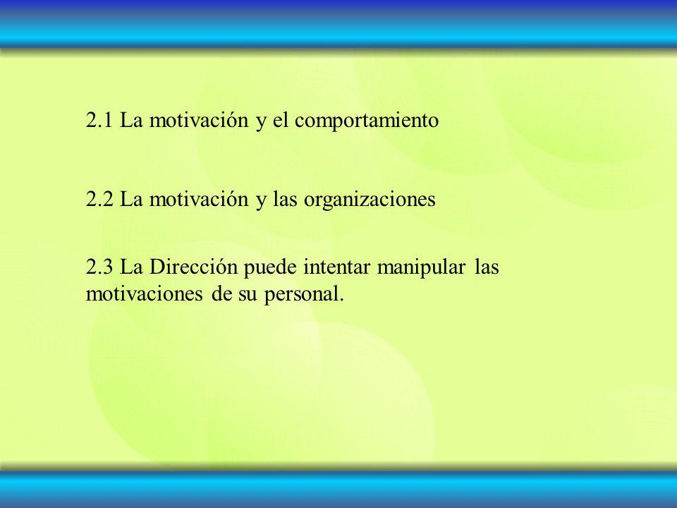2.1 La motivación y el comportamiento