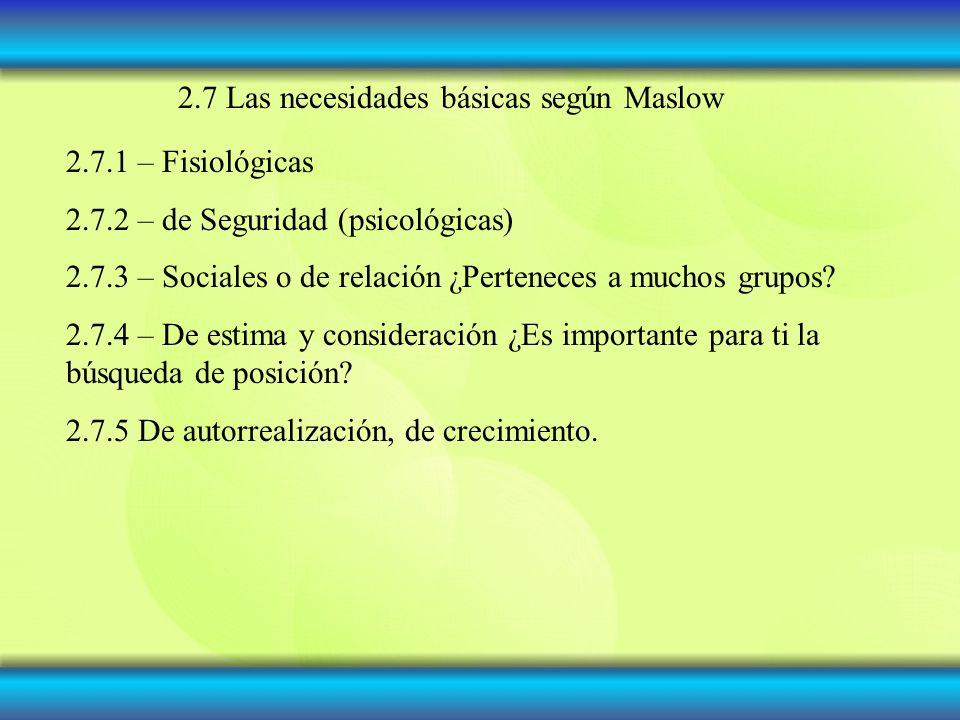 2.7 Las necesidades básicas según Maslow