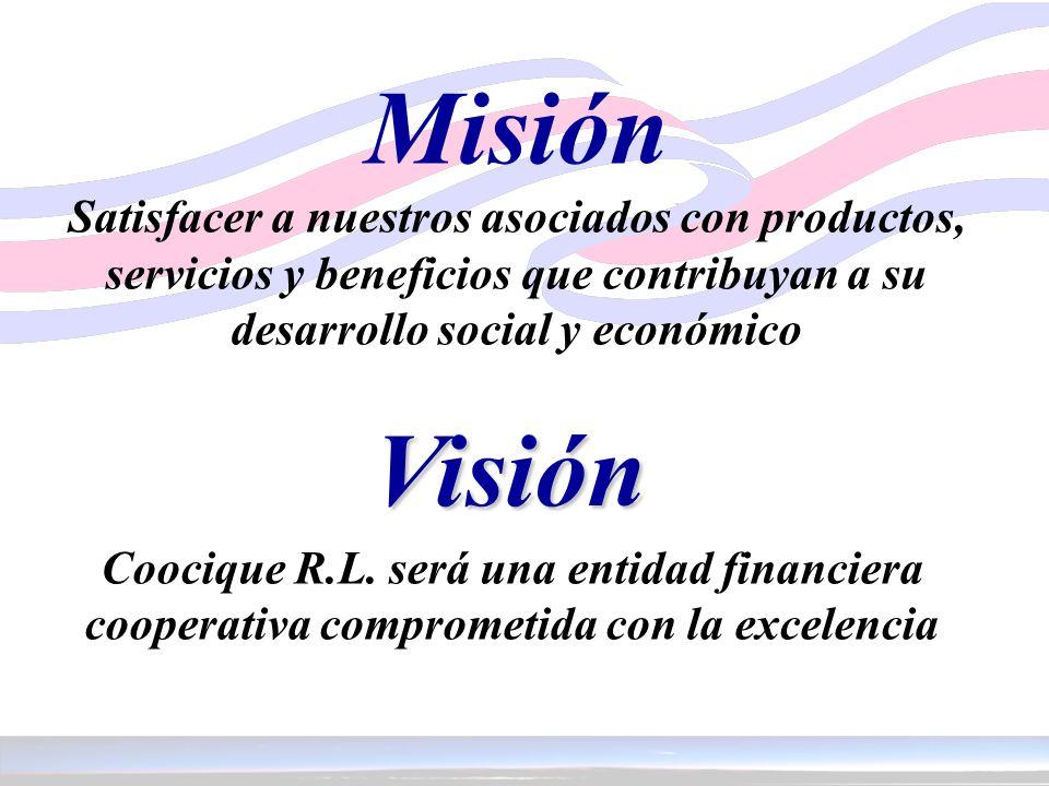 Misión Satisfacer a nuestros asociados con productos, servicios y beneficios que contribuyan a su desarrollo social y económico.