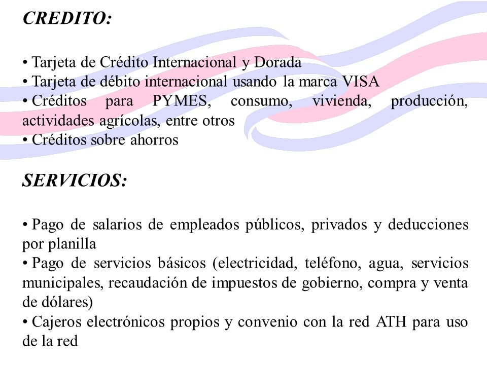 CREDITO: SERVICIOS: Tarjeta de Crédito Internacional y Dorada