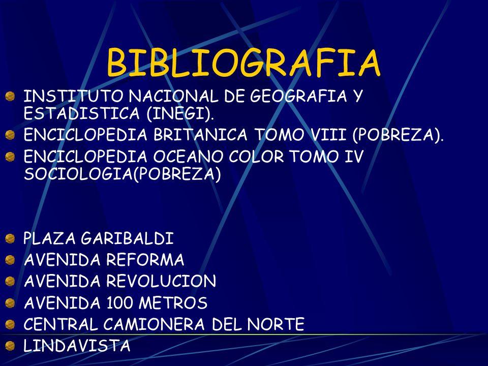 BIBLIOGRAFIA INSTITUTO NACIONAL DE GEOGRAFIA Y ESTADISTICA (INEGI).
