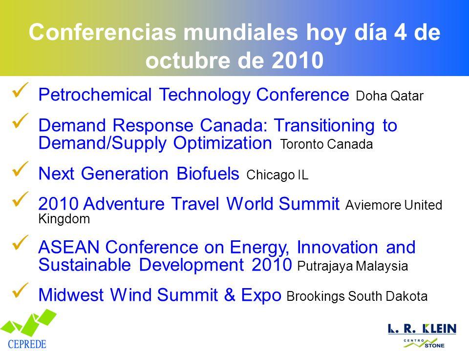 Conferencias mundiales hoy día 4 de octubre de 2010