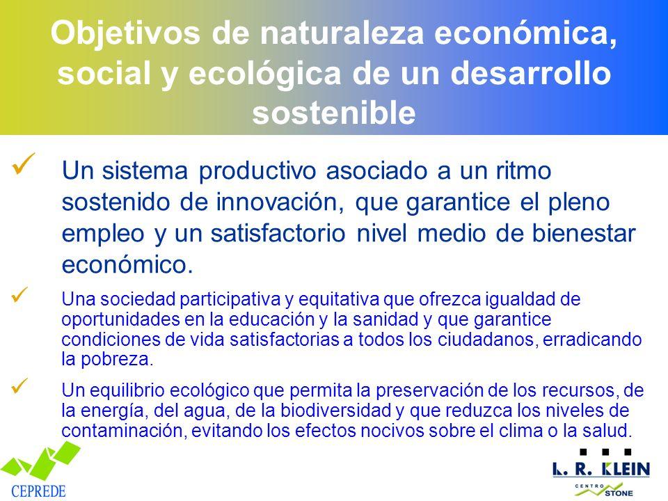 Objetivos de naturaleza económica, social y ecológica de un desarrollo sostenible