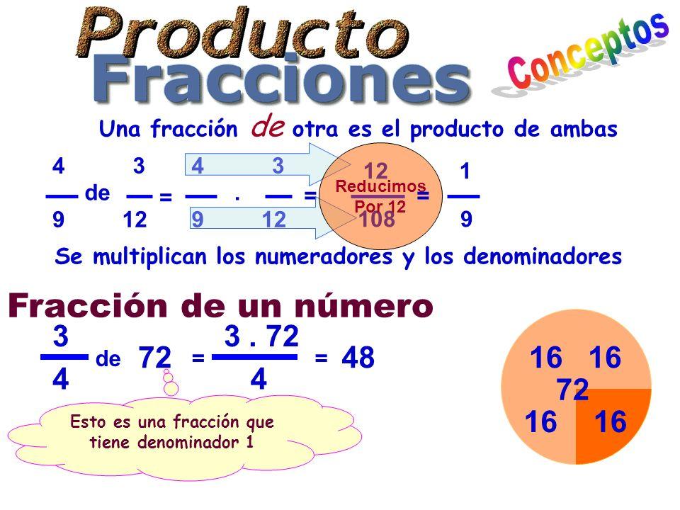 Conceptos Fracción de un número 3 3 . 72 72 48 16 16 4 4 72 16 16
