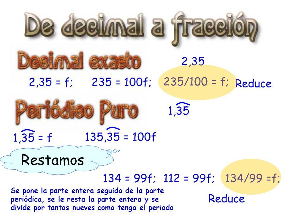 Restamos 2,35 2,35 = f; 235 = 100f; 235/100 = f; Reduce 1,35 1,35 = f