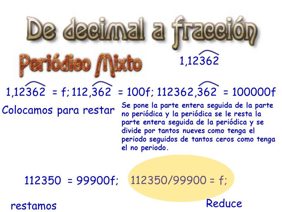 1,12362 1,12362 = f; 112,362 = 100f; 112362,362 = 100000f.