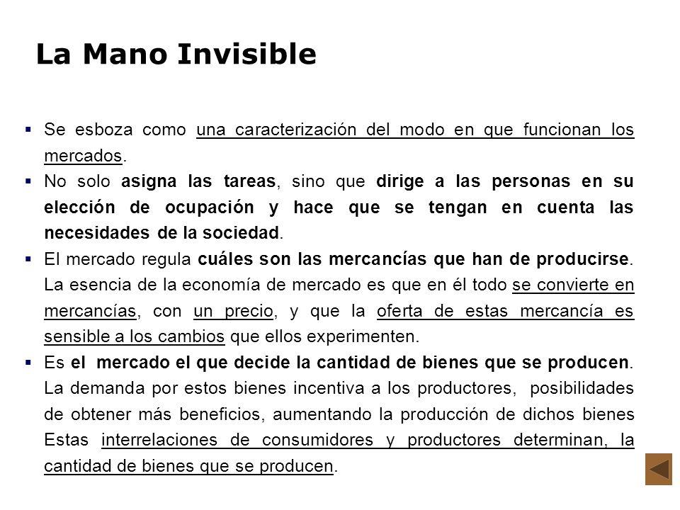 La Mano Invisible Se esboza como una caracterización del modo en que funcionan los mercados.
