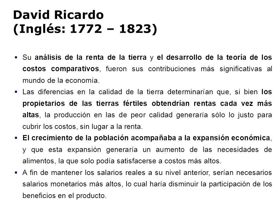 David Ricardo (Inglés: 1772 – 1823)