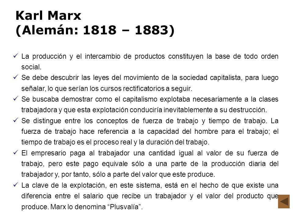 Karl Marx (Alemán: 1818 – 1883) La producción y el intercambio de productos constituyen la base de todo orden social.