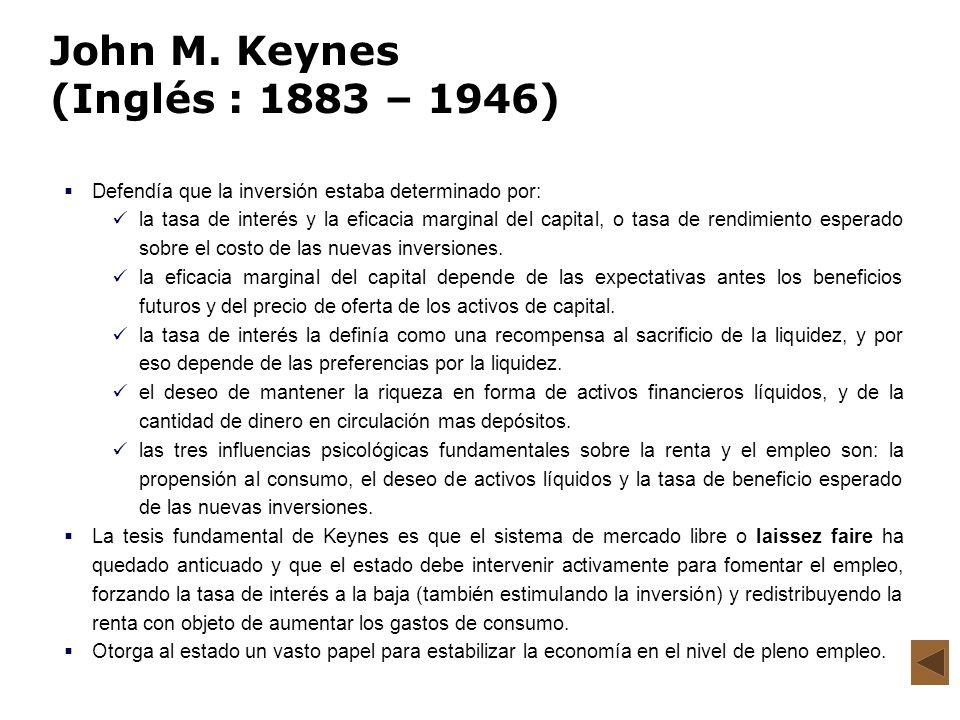 John M. Keynes (Inglés : 1883 – 1946)