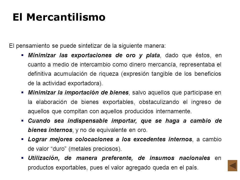 El Mercantilismo El pensamiento se puede sintetizar de la siguiente manera: