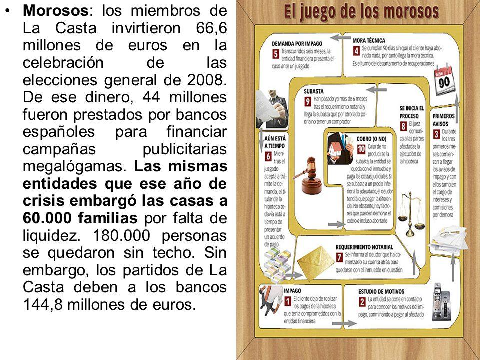 Morosos: los miembros de La Casta invirtieron 66,6 millones de euros en la celebración de las elecciones general de 2008.