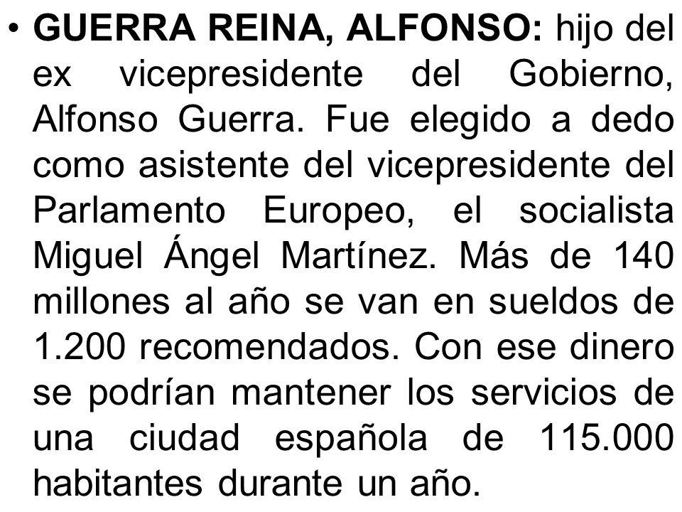GUERRA REINA, ALFONSO: hijo del ex vicepresidente del Gobierno, Alfonso Guerra.