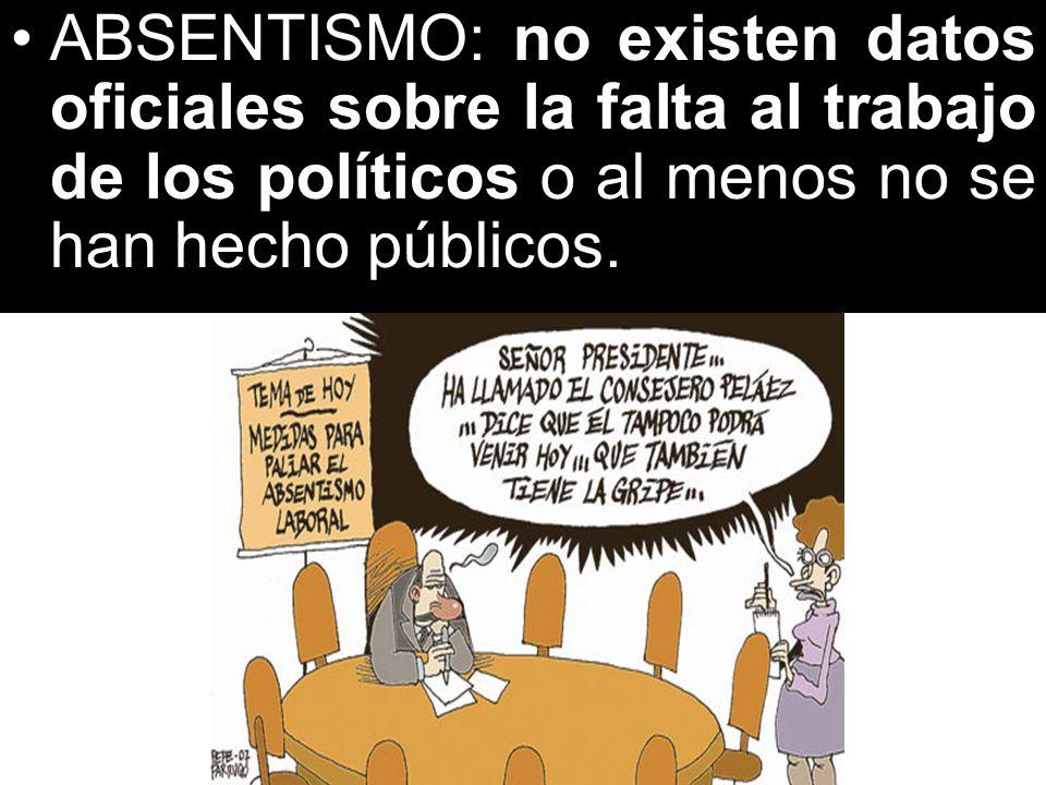 ABSENTISMO: no existen datos oficiales sobre la falta al trabajo de los políticos o al menos no se han hecho públicos.