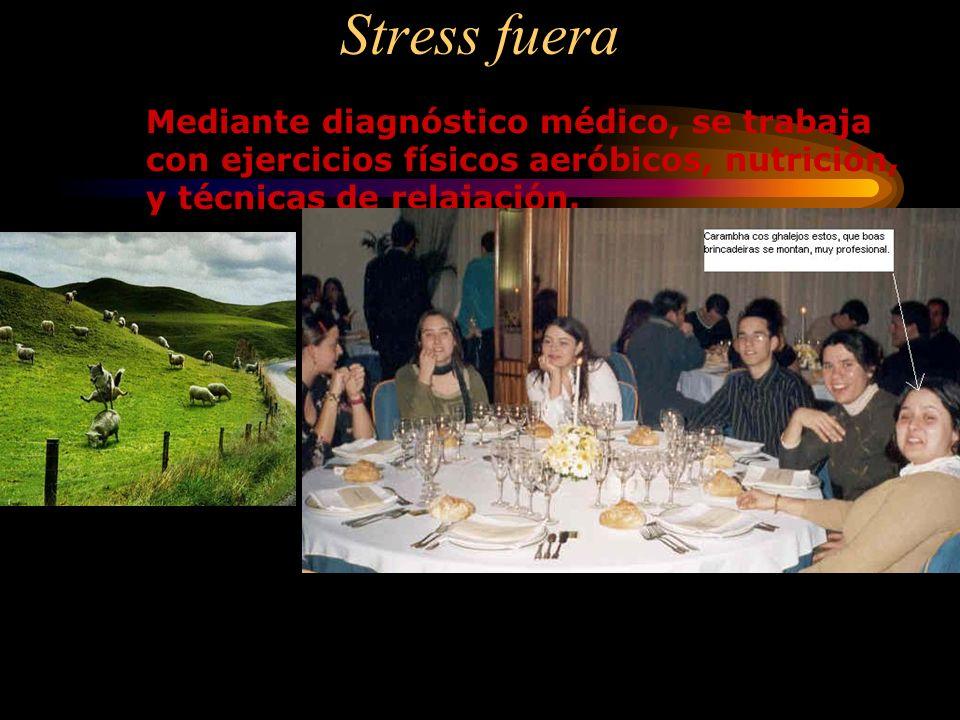 Stress fuera Mediante diagnóstico médico, se trabaja con ejercicios físicos aeróbicos, nutrición, y técnicas de relajación.