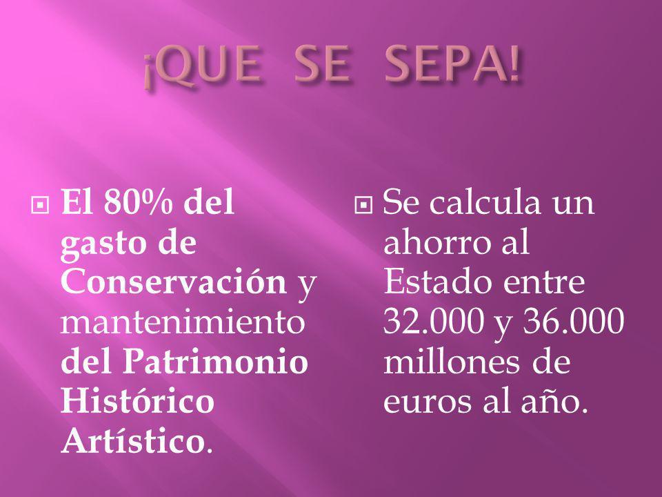 ¡QUE SE SEPA! El 80% del gasto de Conservación y mantenimiento del Patrimonio Histórico Artístico.