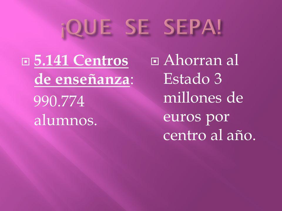 ¡QUE SE SEPA! 5.141 Centros de enseñanza: 990.774 alumnos.