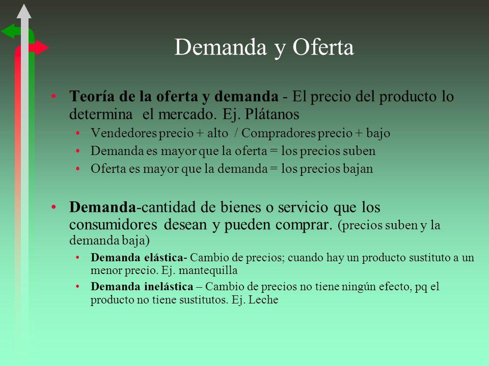 Demanda y Oferta Teoría de la oferta y demanda - El precio del producto lo determina el mercado. Ej. Plátanos.