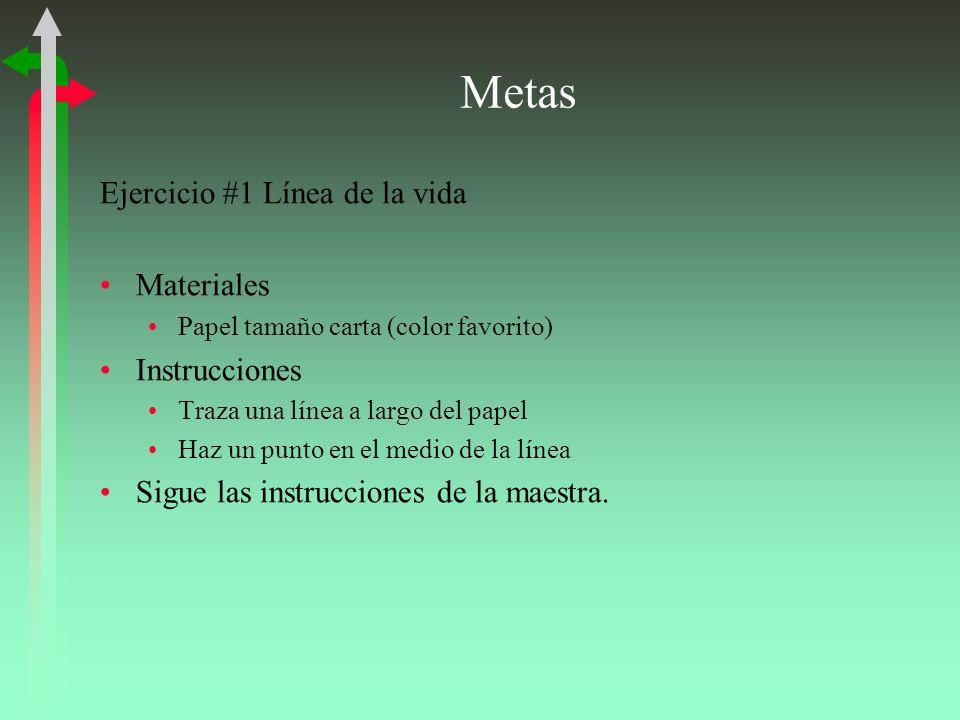 Metas Ejercicio #1 Línea de la vida Materiales Instrucciones