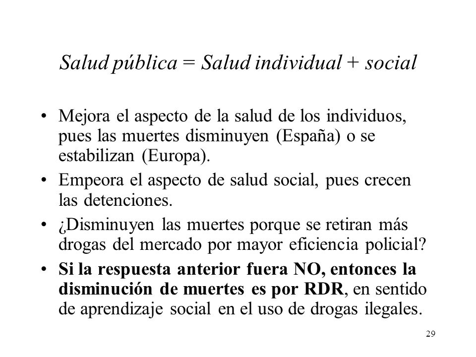 Salud pública = Salud individual + social