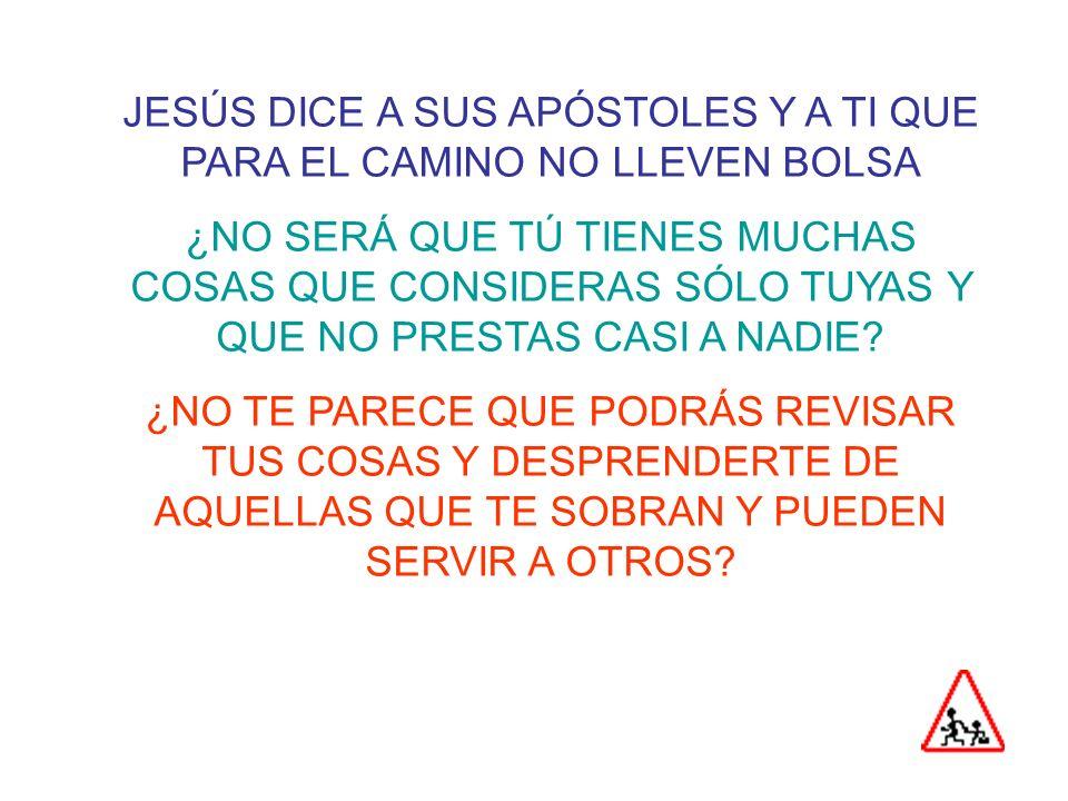 JESÚS DICE A SUS APÓSTOLES Y A TI QUE PARA EL CAMINO NO LLEVEN BOLSA
