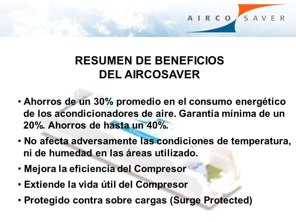 RESUMEN DE BENEFICIOS DEL AIRCOSAVER