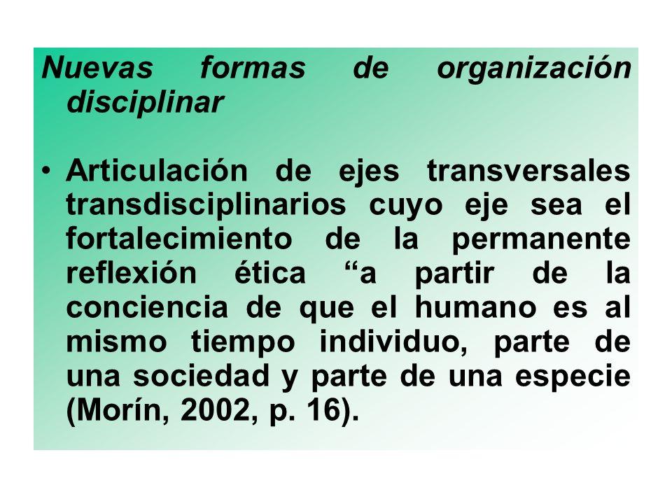 Nuevas formas de organización disciplinar
