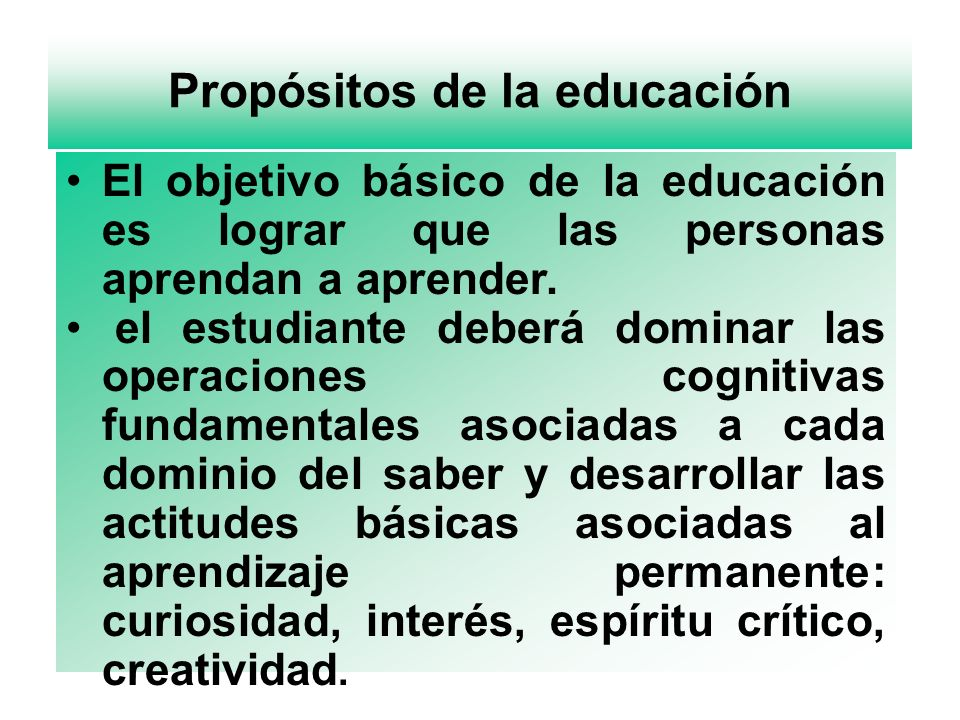 Propósitos de la educación
