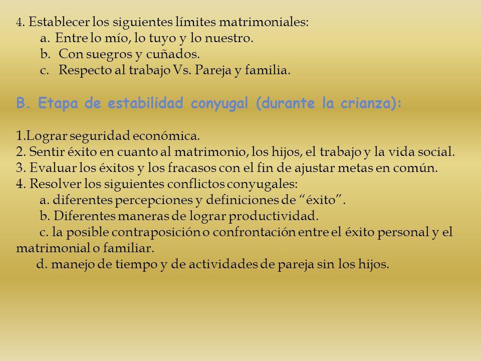 B. Etapa de estabilidad conyugal (durante la crianza):